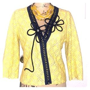 Anthropologie Cardigan Midnight Daisy Yellow Lace